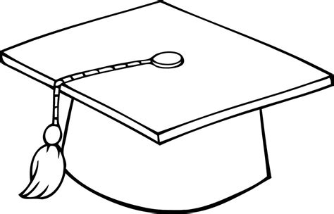 coloring page graduation printable sheet of black and white outline of a graduation