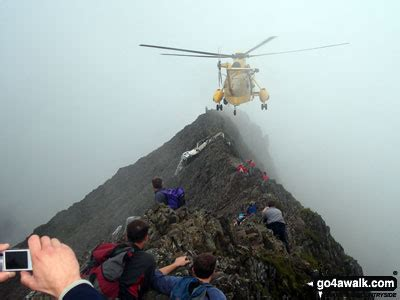Crib Goch Deaths by Helicopter Rescue On Crib Goch In The Snowdon Area