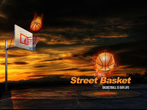 free street basketball powerpoint presentation template on