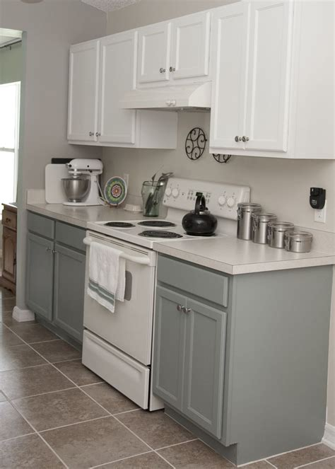 Dual Tone Kitchen Cabinets Two Tone Kitchen Cabinets Rustoleum Cabinet Transformation Kit Seaside On The Bottom And Linen