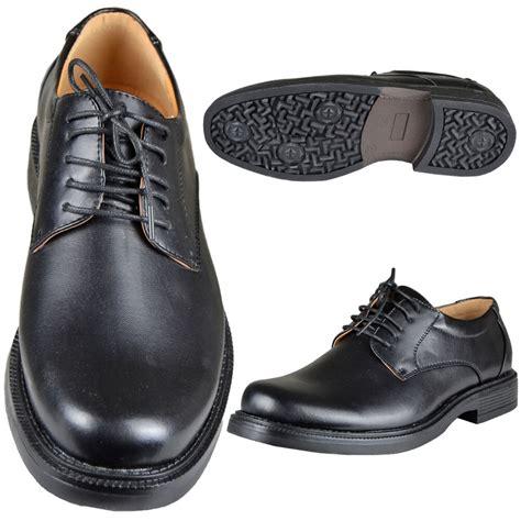 mens plain lace up derby faux leather formal dress shoes black ebay