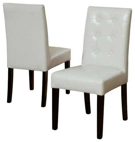 gillian ivory leather dining chair set of 2 modern