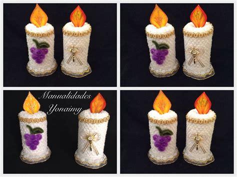 velas hechas con toallas faciales para recuerdos de bautizo o primera comunion manualidades yonaimy