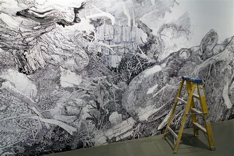 Wall Mural Artist gigantic wall sized mural illustrated with only a black