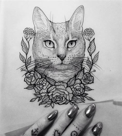 tattoo cat flowers illustration cat flower dot neotraditionel