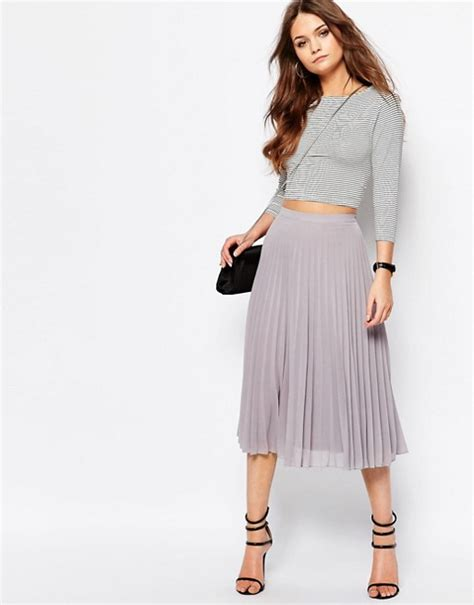 Chiffon Midi Pleated Skirt new look new look chiffon pleated midi skirt