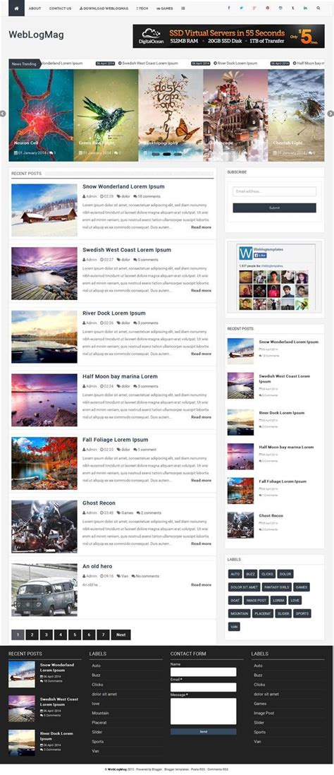 50 free responsive personal blog blogger templates