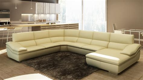 Shop Sectional Sofas Divani Casa 782c Modern Beige Italian Leather Sectional Sofa
