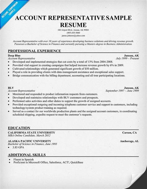 Account Representative Resume by Resume Account Representative Resume 59 Best Best Sales