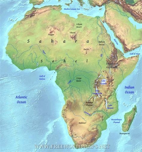 geographical map geographical map of africa