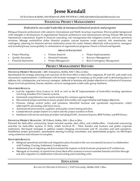 Resume samples successful financial project manager resume sample