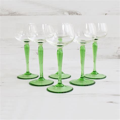 glass barware vintage drinking glasses tall green glassware