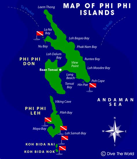 complete guide to the phi phi islands in thailand phi phi islands map dive the world thailand