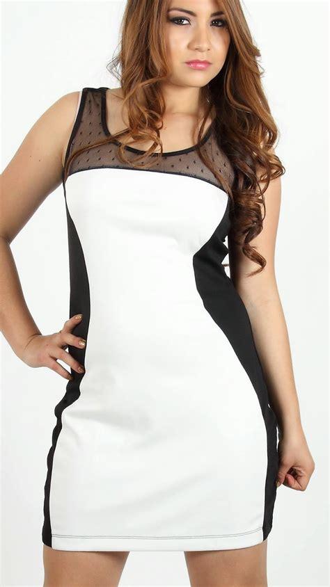 modas con blanco y negro vestido de moda blanco para gordita 2015