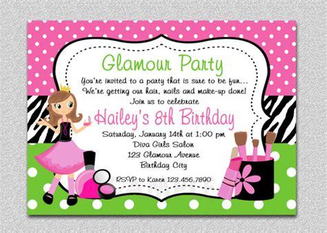 little girl printable birthday invitations glamour girl birthday spa invitation glamour girl birthday