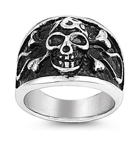 Skull Ring Titanium Sr 067 stainless steel ring skull w cross bone sr 995 n
