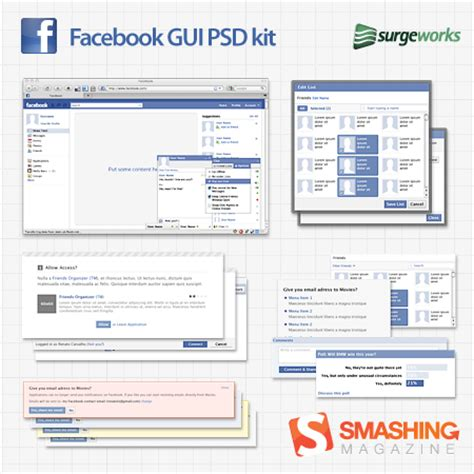 facebook layout template vector free full layered facebook gui psd kit smashing magazine