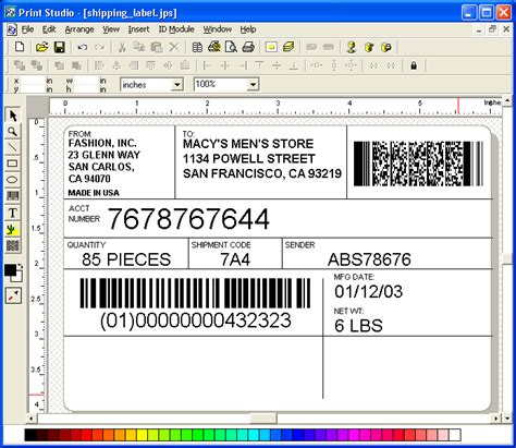 barcode label template accounting finance barcode software demo print studio