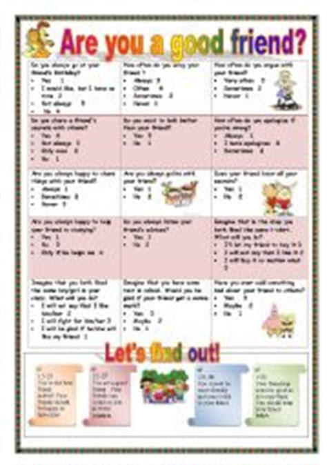 printable quiz what kind of friend are you english worksheets a funny quiz test are you a good