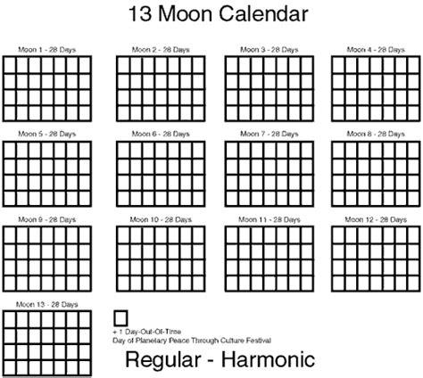 13 Moon Calendar Thirteen Moon Calendar Movement