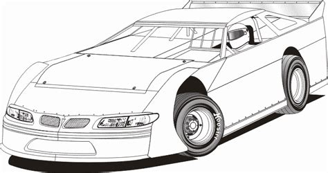 dirt modified race car coloring pages