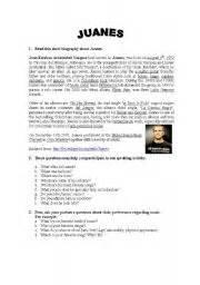 juanes biography in english english worksheet juanes 180 biography