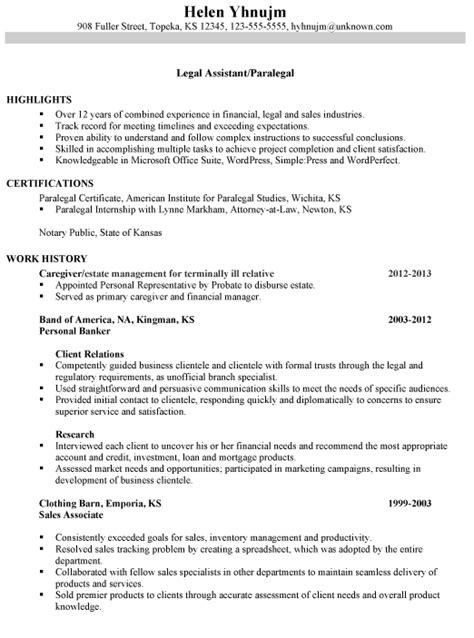 combination resume sle assistant paralegal