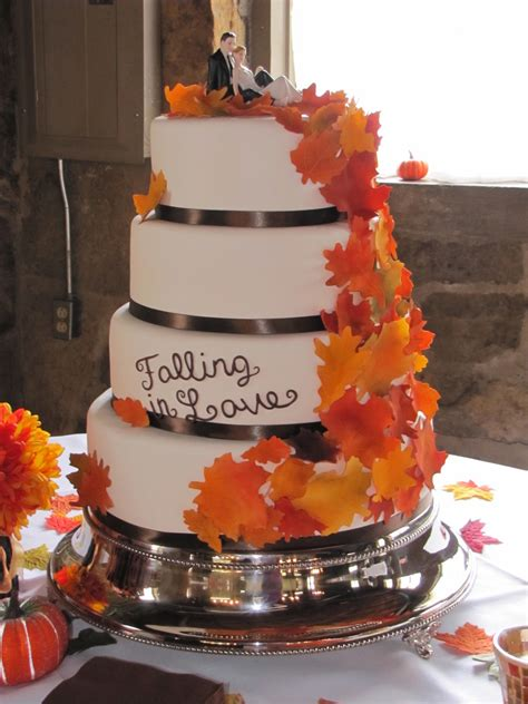 Simple Autumn Wedding Cake by Fall Leaves Wedding Cake Cakecentral
