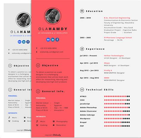 Interactive Resume Template 10 best free resume cv templates in ai indesign psd
