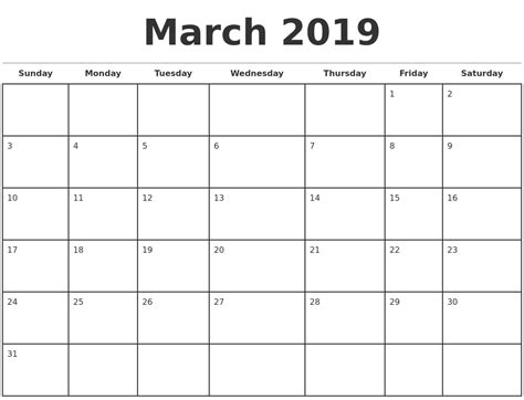 printable calendar april 2018 to march 2019 march 2019 monthly calendar template