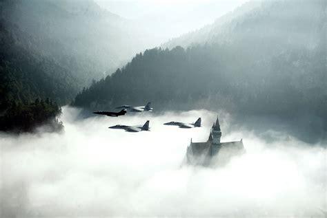nature landscape airplane clouds castle jet fighter