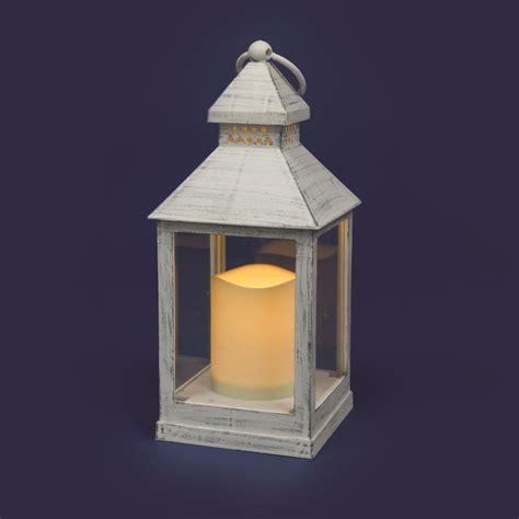 lanterna con candela lanterna bianco antico con candela led effetto fiamma a