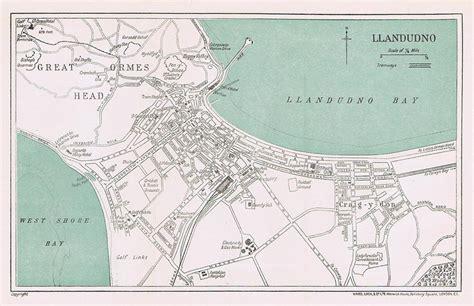 printable street map of llandudno llandudno street plan map of the town vintage folding