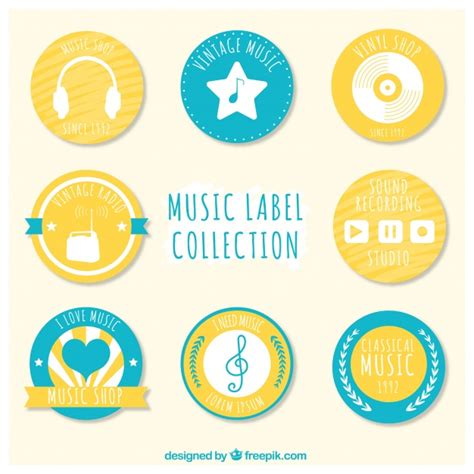 printable music stickers collection of hand drawn music stickers vector free download