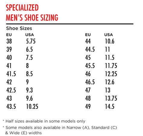 road bike shoe size chart specialized size chart shoes specialized mountain bike