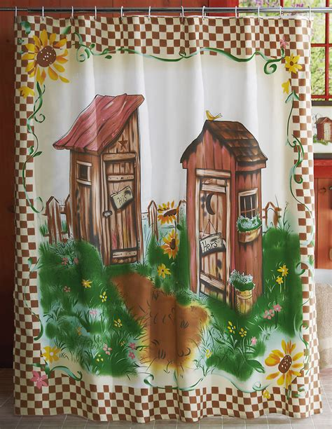 Country outhouse bathroom decor outhouse with checkerboard border shower curtain ebay