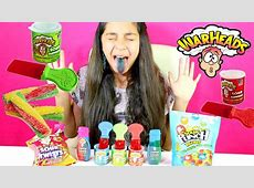 TRYING SOUR CANDY WARHEADS SOUR CANDY!! 7 FLAVORS ... Now And Later Candy Flavors