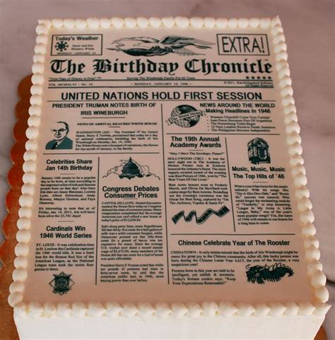 Newspaper Themed Cake | newspaper theme birthday cake jpg
