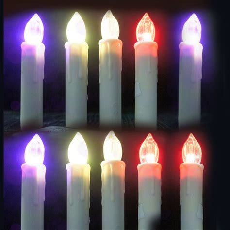 Colour Candle 10pcs 10pcs set wedding candle l led electric flameless candle 12 color change with remote