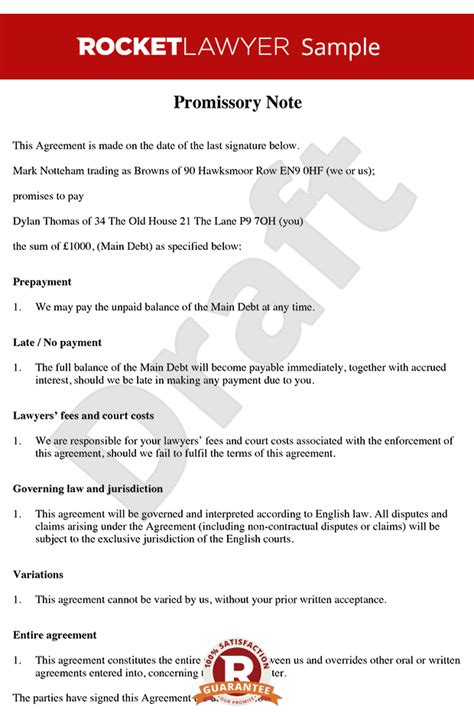 Promissory Note Free Promissory Note Template Legally Binding Promissory Note Template