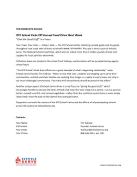 Release Drive Letter Food Drive Press Release Pto Today