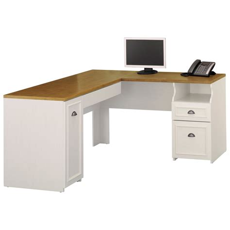 L Shaped Computer Desk Bush Fairview L Shaped Computer Desk Antique White