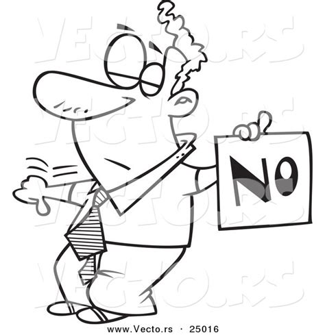 Vector Of A Cartoon Displeased Man With A Thumb Down Coloring Pages No
