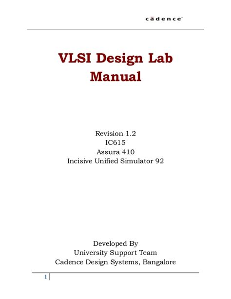 Vlsi Layout Lab Manual | vlsi design manual