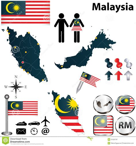 malaysia map vector free map of malaysia stock vector illustration of land state