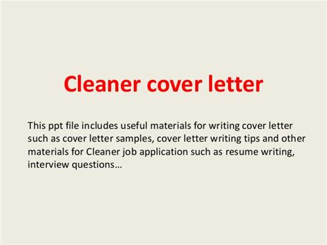 Cleaning Cover Letter Cleaner Cover Letter