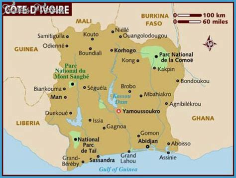 ivory coast map cote d ivoire map tourist attractions travelsfinders