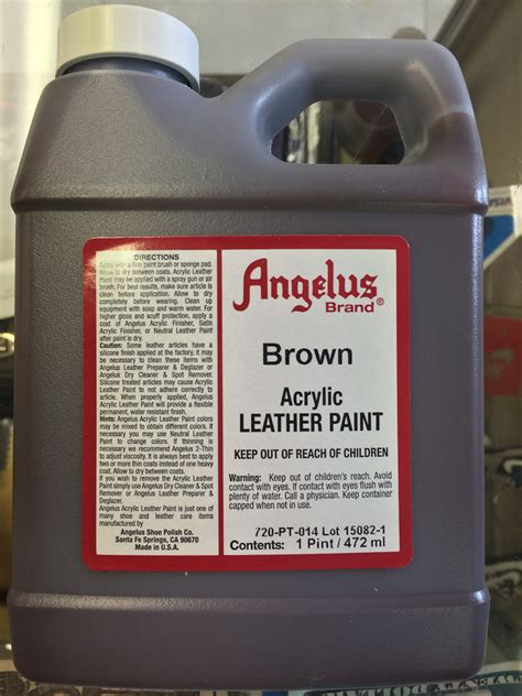 Angelus Brown Acrylic Leather Paint 1 Pint Jwong Boutique
