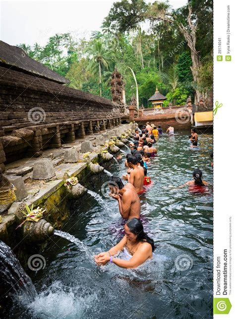 purification  sacred holy spring water bali editorial