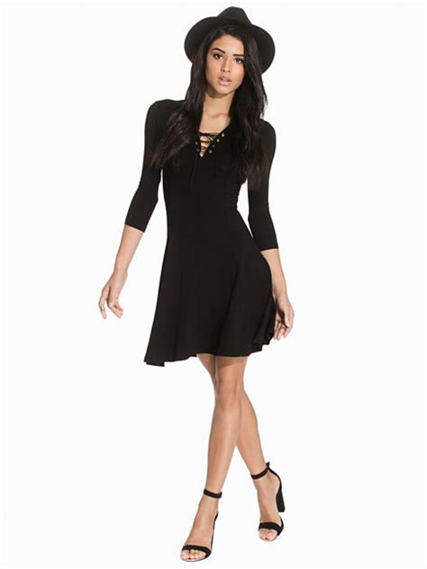swing kleidung eyelet lace up swing dress new look schwarz kleider